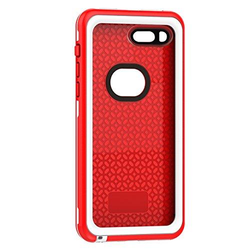 iPhone 8 Plus Wasserdichte Hülle, iPhone 7 Plus Wasserdichte Hülle,Vandot IPX8 Wasserdichte Schutzhülle für iPhone 8 Plus/7 Plus (5,5 Zoll),Staubdicht Schneedicht Stoßfest Handyhülle, Ultradünnes Gehä Rot