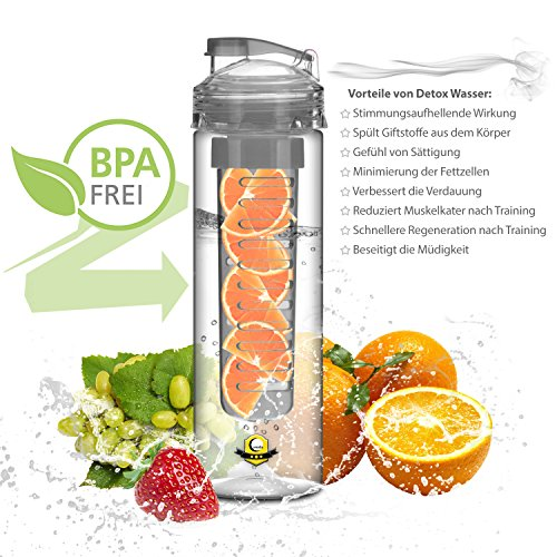 Lunata® water bottle with fruit infuser, sports bottle for fruit drinks, canteen with fruit insert 800 ml, made of Tritan, BPA-free
