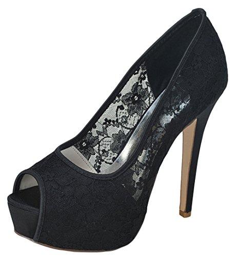ZHENGXF Escarpins femme sexy soiršŠe Chaussure de marišŠe mariage Chaussure de talon Noir