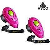 ASCO 2x Premium Clicker, Finger Clicker für Clickertraining, Hunde Katzen Pferde Profi Clicker, Hundetraining Klicker pink AC08F, 2 Stück