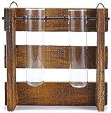 HEITMANN DECO - Vaso Decorativo a Forma di provette con Supporto in Legno - Decorazione Interna - Due provette Incluse