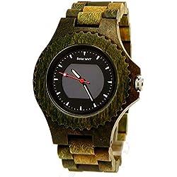 Pure Time® SOLAR designer Unisex Damen/Herren Natur Holz Armbanduhr Uhr in Grün inkl. Holz Uhrenbox