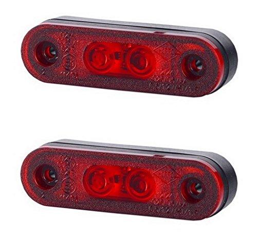 2 x 2 SMD LED Rot Begrenzungsleuchte Seitenleuchte mit Gummi-Pad 12V 24V E-Prüfzeichen Positionsleuchte Auto LKW PKW Lampe Leuchte Licht Universal