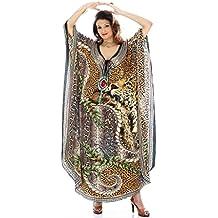 Da donna crespo stampato Turco kaftani caftano beachwear costumi da bagno del bikini Coprire Abito Spiaggia Mantello di D G PRINTS FAB (stile no. 0040)