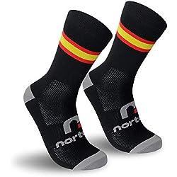 nortei - Calcetines Bandera España para Ciclismo, MTB y Running de Meryl para Hombre y Mujer - Spain - (M(40-42), Negro)