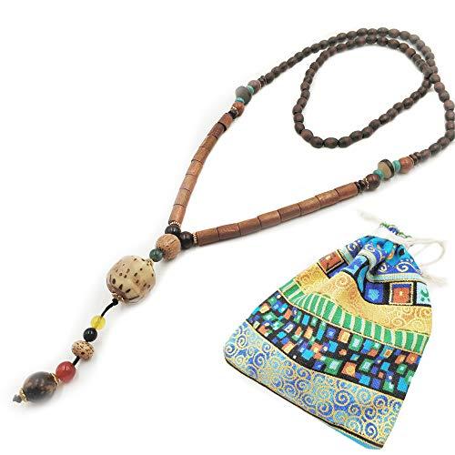 Lange Kette Pullover Halskette Modeschmuck für Frauen Dame Mädchen Buddha Bohemia Stil Natur Holz Perle und Stein mit Anhänger Kleidung Zubehör 100% Handarbeit Perlen Art Fashion Lange Halskette Eine Art Sweatshirt