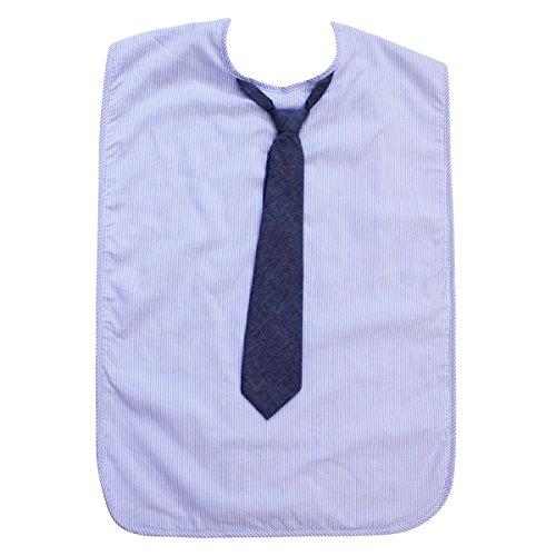 Herren Erwachsene Lätzchen, wasserfest, Blau Nadelstreifen mit Krawatte von Frenchie Mini Couture