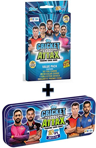 Topps Cricket Attax IPL CA 2017 School Tin Combo Value Pack, Multi Color (Pack of 2)