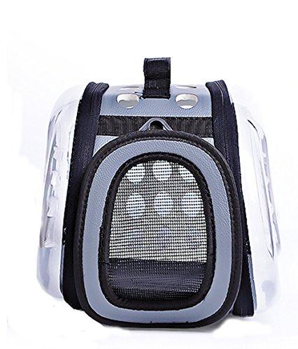 TFN Cat Dog Carrier & Reiserucksack Pet Carrier Portable Atmungsaktive Footprint Pfote Schwarz Grau Rosa Blau Leichte Lässig/Alltäglich Reisetasche,Gray (Pet Carrier Dog House)