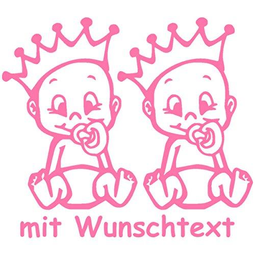 Preisvergleich Produktbild Babyaufkleber für Zwillinge mit Wunschtext - Motiv Z25-JJ (16 cm)