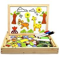 infinitoo Puzzle en Bois Magnétique 100 Pèces Jouets Educatifs avec Planche à Dessin, Forme d'animal | Graffiti et…