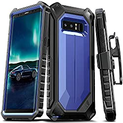 ELV Holster Defender 360 degree Heavy Duty Armor Full Body Protective with Belt Clip for Samsung Galaxy Note 8 - Dark Blue/ Black