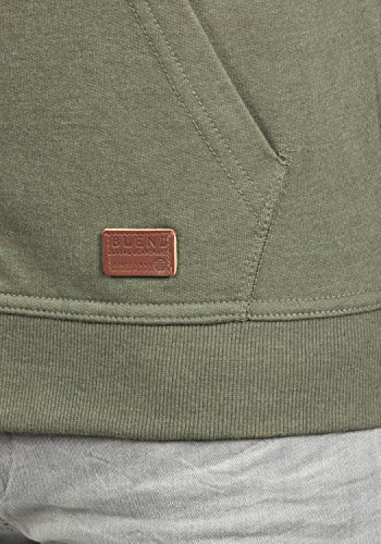 BLEND Speedy Herren Sweatjacke Zip-Hoodie mit Kapuze und optionalem Teddy-Futter aus einer hochwertigen Baumwollmischung Meliert Ivy Green (77026)