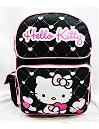 Medium Backpack - Hello Kitty - Glitter Heart Black School Bag 14""