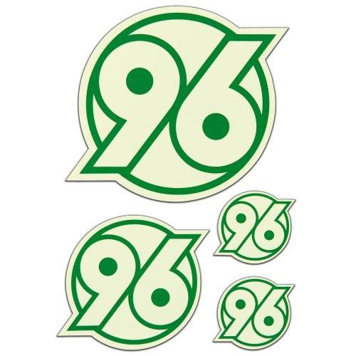 Hannover 96 Aufkleber, Sticker Logo Leuchtend 4er Set - Plus gratis Lesezeichen I Love Hannover