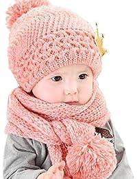 Gorras para bebé, Dragon868 Hermoso bebé de invierno de lana caliente capucha bufanda y sombrero conjunto