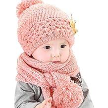 Gorras para bebé, Dragon868 Hermoso bebé de invierno de lana caliente capucha bufanda y sombrero