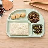 Weizen Stroh Faser Teller Unterteilt Speiseschale Snack Tablett Frühstücksgeschirr für Kinder Küche Geschirr (grün)