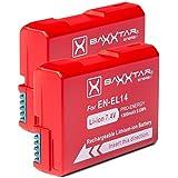 2x Baxxtar Pro batterie pour Nikon EN-EL14 EN-EL14a réel 1300mAh batterie intelligente pour D3100 D3200 D3300 D3400 D5100 D5200 D5300 D5500 D5600 etc.