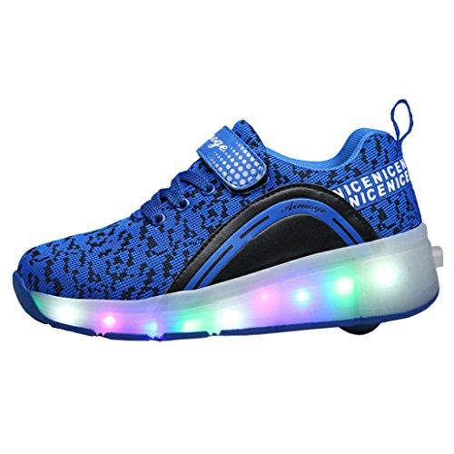 ECOTISH Enfants Fille Garçon Baskets Sneakers Lumineuses Chaussures à Roulettes Clignotante Chaussures de Sport LED avec Colorés Homme Femme Chaussure de Marche Chaussure à Roulettes Bleu