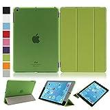 Besmall Neu Ultra Slim Edles iPad Air iPad 5 Hülle - Smart Cover Leder Case Schutz Hülle Tasche + Back Case - inkl. Displayschutzfolie Reinigungstuch Stift mit Multi Ständer Auto Sleep Wake (iPad Air/iPad 5, Farbe:Grün)