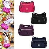 Women Crossbody Bags Casual Nylon Messenger Shoulder Bags Multi-Pocket Handbag Tote Purse Black