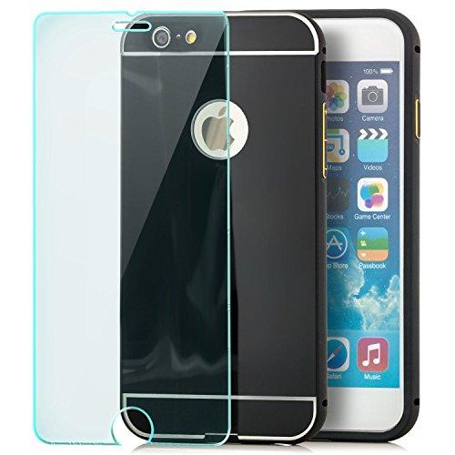 Saxonia iPhone 6 Plus / 6S Plus Hülle Aluminium Case + Panzerglas Schutzhülle Alu Rahmen Bumper und Back Cover | Plexiglas Rückseite Anthrazit Schwarz