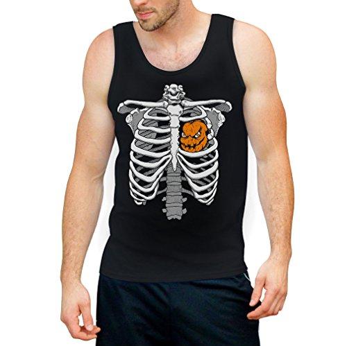 Shirtgeil Skelett Brustkorb Mit Kürbis Halloween Tank Top Large Schwarz (Of Jack Halloween-kostüm Hearts)