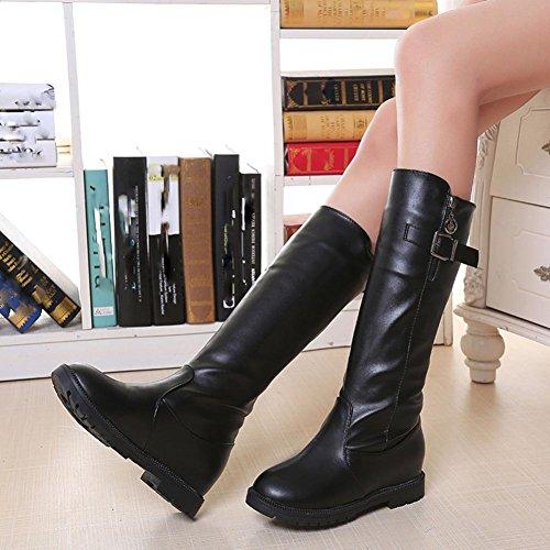 Donne Stivali, Tefamore Piatto Con Cerniera Felpa Caviglia Stivali Nero