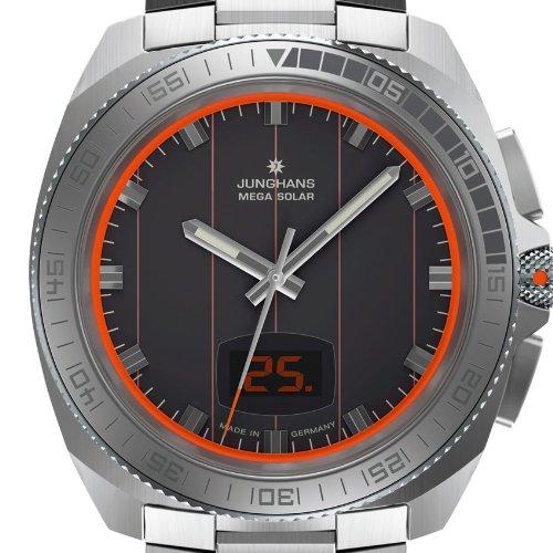 Junghans Herren-Armbanduhr XL 1972 Mega Solar Analog Quarz Edelstahl 056/4211.44 - 2