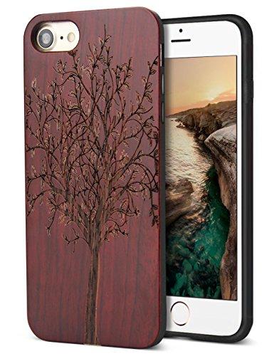 YFWOOD Holzkiste Ersatz für iPhone 7 iPhone 8 Holz Handgefertigte Holzschnitzerei Gummi Zurück Harte Stoßstange Haut Hybrid Schutzhülle (5 Iphone Fall-gummi-holz)