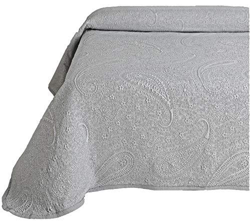 Leiper - couvre-lit en boutis Jacquard, Cashmere, de couleur Blanc, Gris ou Beige (toutes Les Dimensions). 290x260 (cama 200) gris