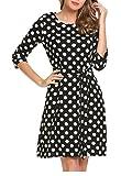 Beyove Damen Kleid Polka Dot Halbarm Gepunktes Kleider Elegant Herbst Festlich Cocktailkleid Abendkleid mit Gürtel Schwarz L