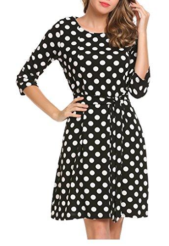 Beyove Damen Kleid Polka Dot Halbarm Gepunktes Kleider Elegant Herbst Festlich Cocktailkleid Abendkleid mit Gürtel Schwarz XL -