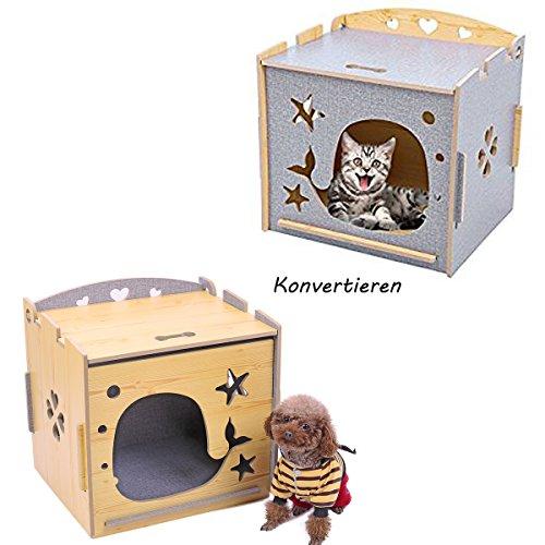 Pawz Road Katzenhöhle Katzenhaus Katzenkorb Hundehütte Hundehaus Kuschelhöhle hohl geschnitztes Design für kleines Welpen Kätzchen Kaninchen 48.5*39*48cm