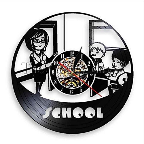 TIANZly Klassenzimmer Lehrer Und Schüler Zeitgenössische Schallplatte Wanduhr Kindergarten Schule Wandleuchte Dekoration Raumdekoration