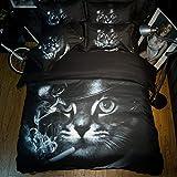 DOTBUY Bettbezug Set, 4 Teilig Bettwäsche 220 x 240cm 100% Polyester Mikrofaser Mode Gemütlich Printing Bettbezug-Set (Rauchende Katze)