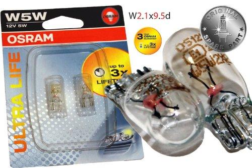 Original OSRAM 1 - Set T10 W5W 12V 5W ULTRA LIFE Soffitte Standlicht Parklicht Scheinwerfer PREMIUM - NEU - / Smart - Subaru - Suzuki - Toyota - Volvo - OHNE FEHLERMELDUNG - StVO Zugelassen