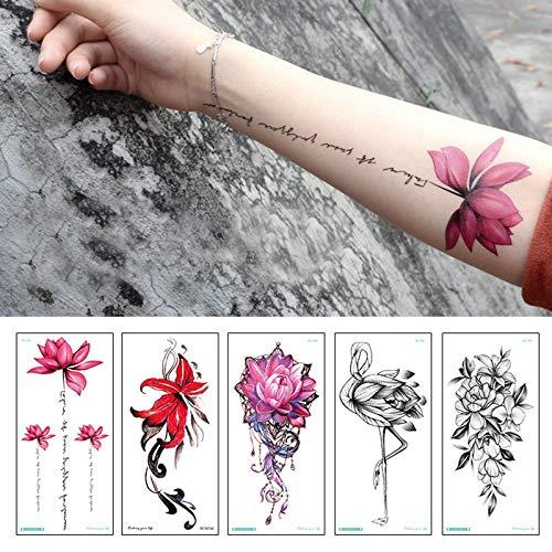 Adesivo per tatuaggi fiori colorati moda donna nuovo impermeabile tatuaggi temporanei body art