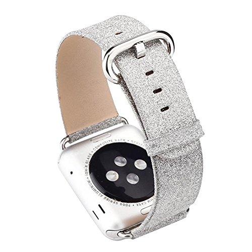 Cuitan Armband für 42mm Apple Watch iWatch Alle Modelle, Luxus Bling Glitzer PU Leder Uhrenarmband mit Edelstahl Adapter Plain Weave Shiny Glitter Replacement Uhrband Watchband Wrist Band Strap-Silber (Stella Echte Zubehör)