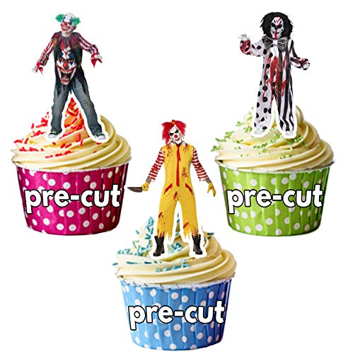 elige Halloween Clowns Party Packung - Essbare Cupcake Topper / Kuchendekorationen (36 Stück) ()