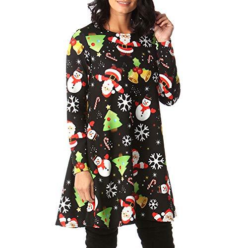 LANSKIRT Weihnachtsfeier Kleid, Damen der Frauen mit Langen Ärmeln Santa Geschenke Weihnachtsweihnachts druckte Neuheit Ausgestelltes Swing-Kleid Top in Übergrößen A-Line Lose Swing Dress