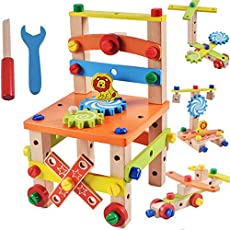 Akrobo Kids Assembling Disassembling Wooden Multifunctional Chair with Nut and Screw Toys(Multicolour,AKWTHMY9078AB)
