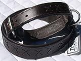 Hundehalsband Leder Kreuz Zierstich Braun Schwarz extra Breit Gr. 48 -55 cm Hund Mittel