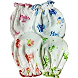 Fancyadda New Born Baby Soft Cotton Mittens Pack of 4
