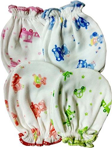 Fancyadda New Born Baby Soft Cotton Mittens Pack of 4