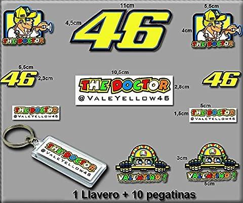 PEGATINAS Y LLAVERO 46 VALENTINO ROSSI THE DOCTOR AM10 F STICKERS AND KEY RING AUFKLEBER VINILOS ADESIVI DECALS MODELO 7/MODEL 7