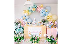 PuTwo Pastel Balloons 80 pcs Balloon Pack of 12 Latex Balloons in Assorted Pastel Colours and Confetti Balloons Pastel Party Decorations for Girls Birthday, Baby Shower, Wedding