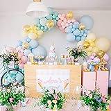 PuTwo Palloncini Pastello 80 pezzi Confezione da 12'Palloncini in Lattice in Colori Pastello Assortiti e Palloncini di Coriandoli Decorazioni Pastello per le Ragazze Compleanno, Baby Shower, Matrimoni