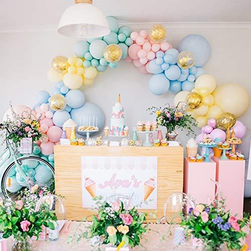 PuTwo Pastel Globos 80 Piezas Paquete de Globos de 12 'Globos de Látex en Colores Pastel Surtidos y Globos de Confeti Decoraciones de Fiesta Colores Pastel para Cumpleaños de Niñas, Baby Shower, Boda